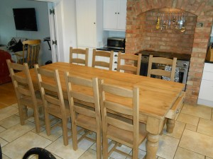 Custom made farmhouse table with new ladderback chairs