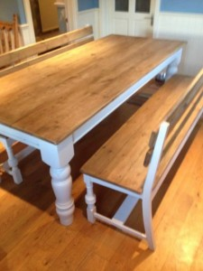 Custom-made table and bench 2