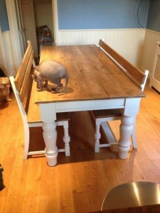 Custom-made table and bench